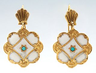 Pair of 14K Yellow Gold Floriform Earrings, suspended from shell form studs, H.- 1 1/4 in, W.- 3/4 in.