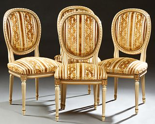 Set of Four Polychromed Beech Louis XVI Style Upholstered Dining Chairs, 20th c., the curved oval medallion backs over bowed seats,...