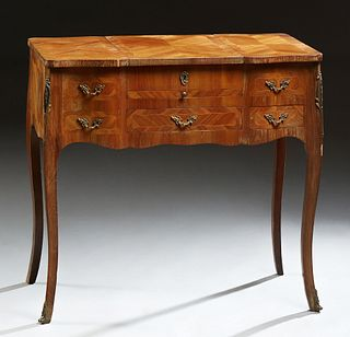 Louis XV Style Inlaid Kingwood Poudreuse, early 20th c., the crotched lifting center with an interior mirror, flanked by lifting lid...