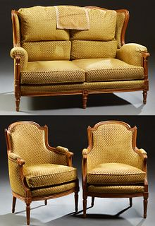 French Three Piece Louis XVI Style Carved Cherry Parlor Suite, 20th c