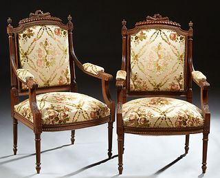 Pair of French Louis XVI Style Carved Beech Armchairs, 19th c