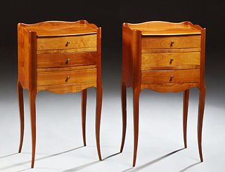Pair of French Louis XV Style Carved Cherry Nightstands, 20th c