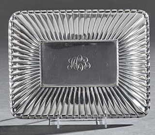 Unusual Art Deco Sterling Bowl, by Reed and Barton, # X302, of ribbed rectangular form, H.- 1 1/4 in., W.- 11 3/16 in., D.- 8 1/2in....