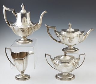 "Four Piece Sterling Silver Tea and Coffee Service, c. 1911, by Gorham, # A2411, in the ""Plymouth"" pattern, consisting of a teapot, c..."