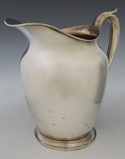 Sterling Water Pitcher, 20th c., #413, by M. Fred Hirsch, New Jersey, H.- 8 3/4 in., W.-