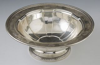 Sterling Silver Footed Lobed Center Bowl, 20th c., # A408-73, by Dominick and Haff, the repousse rim with repousse garlands and oval...