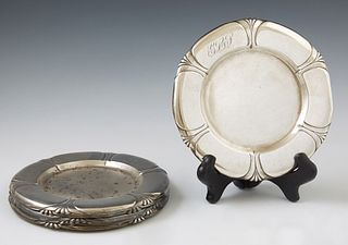 "Set of Six Sterling Silver Art Deco Bread and Butter Plates, c. 1931, by Gorham, Durgin, with scalloped relief rims, engraved, ""GLL,..."