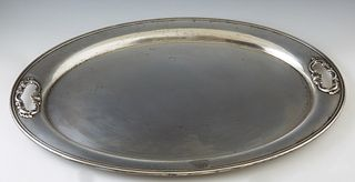 "Large Sterling Waiter Tray, #1147, by Gorham, in the ""Strasbourg"" pattern, H.- 7/8 in., W.- 22 1/8 in., D.- 15 3/4 in., Wt.- 59.8 Tr..."