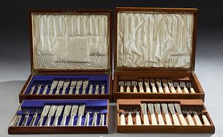 Two 24 Piece Mother-of-Pearl Cased Silverplate Fish Services, one Sheffield, c. 1890; the second by Mappin and Webb, London, c. 1910...