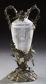 Victorian Crystal and Silver Plate Vase/Centerpiece, c. 1860, by Thomas Joseph Dibley, the cut crystal tapered vase mounted with sil...