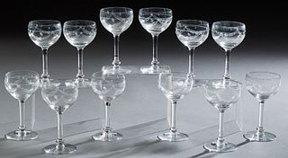 Twelve French Etched Crystal Wine Glasses, early 20th c
