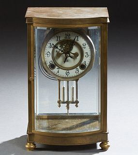 Ansonia Gilt Bronze Crystal Regulator Open Escapement Mantel Clock, 19th c., with an enamel dial, and a curved beveled glass door an...