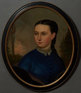 "English School, ""Portrait of a Lady with a Lace Collar,"" 19th c., oval oil on canvas, presented in an ebonized and gilt frame, H.- 2..."