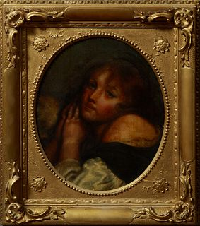 "French School, ""Portrait of a Woman With Clasped Hands,"" early 19th c., oil on canvas, presented in a period gilt and gesso frame, H..."