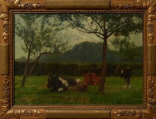 "E. Van Damme Sylva (1853- ), ""Cows in a Pasture,"" late 19th c., oil on canvas, signed lower right, presented in a period gilt and ge..."