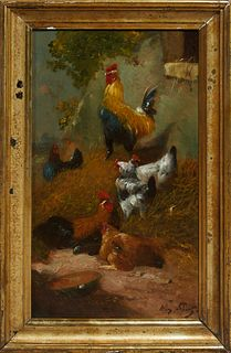 "H. Schouten (1857-1927), ""Chickens in the Farmyard,"" 19th c., oil on board, presented in a period gilt and gesso frame, H.- 15 in.,..."