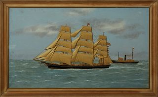 "Thomas H. Willis (1850-1925, English), ""Ship's Diorama of the Robin Hood,"" 19th c., of a three masted schooner, cloth and oil on can..."