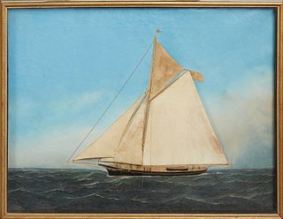 "Attributed to Thomas H. Willis (1850-1925, English), ""Ship's Diorama of a Single Mast Schooner,""oil on canvas, with relief cloth sai..."