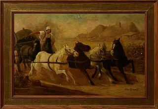 "Aleksandr N. Volkov Roussoff (1844-1928, Russian), ""Driving the Horses,"" 20th c., oil on panel, signed lower right, presented in a g..."