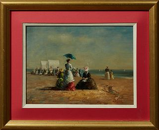 "Jean Lefort (1948-, French), Gathering of Women on the Beach,"" 20th c., oil on board, signed lower right, presented in a gilt frame..."