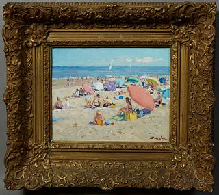 "Niek van der Plas (1954- , Dutch), ""A Day at the Beach,"" 20th c., oil on panel, presented in an ornate gilt and gesso frame, H.- 9 1..."