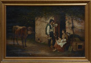 "P. Bodard, ""Family in a Farmyard, with Cow and Chicken,"" 19th c., oil on canvas, signed lower right, presented in a cove molded gilt..."