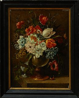 "Dutch School, ""Still Life of Flowers in a Glass Bowl,"" 18th c., oil on panel, presented in a wide ebonized frame with a gilt liner,..."