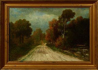 "Luis Graner y Arrufi (1863-1929, Spanish, active New Orleans c. 1914-22), ""Figures on a Road in a Louisiana Landscape,"" early 20th c..."
