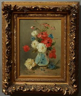 "Henry Schouten (Jos Klaus, 1857-1927, Dutch), ""Still Life of Flowers in a Pale Blue Vase,"" c. 1900, oil on canvas, signed lower righ..."