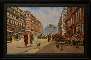 "Pierre Guillaume (1954-, French), ""Paris Street Scene,"" 20th c., oil on canvas, signed lower right, presented in a wide carved eboni..."