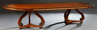 French Macassar and Satinwood Dining Table, 20th c., the oval banded top on two large tripodal curved leg supports with block feet,...