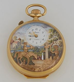 Arnex Reuge Pocket Watch with Music and Automaton, 20th c., the painted face with a country landscape fountain scene with applied me...