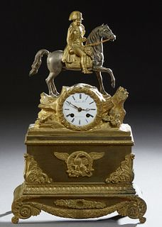 French Gilt Bronze Napoleon on Horseback Figural Mantel Clock, 19th c., the figure atop a time and strike drum clock, by Vincenti &...