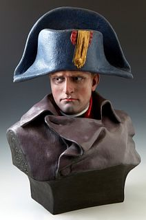 "After Renzo Colombo (1856-1885), ""Napoleon I,"" polychromed terracotta bust, after the 1885 original,"