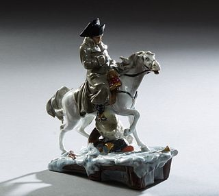 """Napoleon Leaving Moscow,"" vintage porcelain figure from Scheibe-Alsbach Sitzendorf, #103, marked on the integral base, the undersid..."