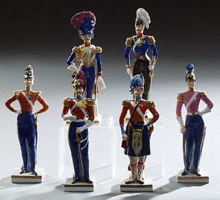 Set of Six Capodimonte Style Porcelain Napoleonic Soldier Figurines, 19th c., on integral porcelain bases, one with a stamped capodi...