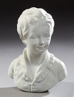 "Continental White Porcelain Bust of a Young Boy, 20th c., in a collared shirt, the underside impressed with ""C. Tharaud, France,"" H...."