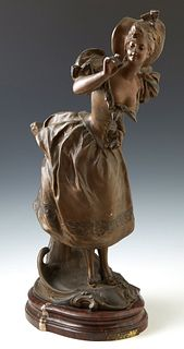 "Victor Leopold Bruyneel (1859-, French), ""Libellule,"" late 19th c., patinated spelter, inscibed signature verso and ""Paris,"" on"