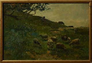 "Willem Steelink (1826-1913, Dutch), ""Shepherd and Sheep,"" 19th c., oil on canvas, laid to panel, signed lower right, presented in a..."