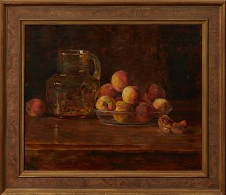 "Joseph Henry Boston (1860-1954, American), ""Still Life with Peaches,"" early 20th c., oil on canvas, signed upper right, presented in..."