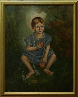 "Southern School, ""Portrait of a Child with Peaches,"" early 19th c., oil on canvas, presented in a gilt frame, H.- 30 1/4 in., W.- 24..."