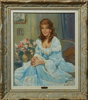 "Yves Diey (1892-1984, French), ""Portrait of Ann Margaret,"" 20th c., oil on canvas, signed lower right, presented in a gilt and polyc..."
