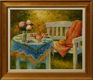 "Henri Joseph Pauwels (1903-1983, Belgian), ""Breakfast in the Garden,"" 20th c., oil on canvas, signed lower right, presented in a wid..."