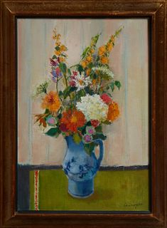 "Marcel Cremoyson, ""Still Life of Flowers in a Blue Pitcher,"" 20th c., oil on canvas, signed lower right and verso, presented in a di..."