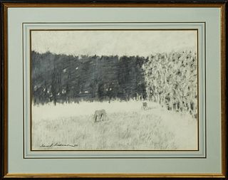 "David Anderson (1946- , American), ""Horses in the Field,"" graphite, signed and dated lower left, presented in an ebonized frame with..."