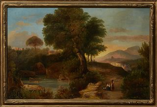 "Ernest Finkernagel (19th c., New York), ""Landscape With Figures and Sheep,"" 1855, oil on canvas, signed and dated lower right, prese..."