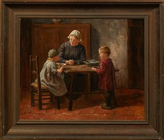 "Hendricus Antonius Dievenbach (1872-1946, Dutch), ""At the Kitchen Table,"" 19th c., oil on canvas, signed lower right, presented in a..."