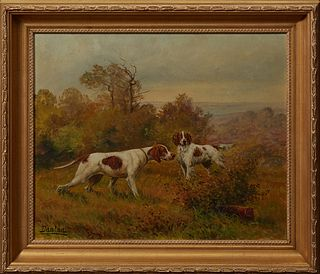 "Edouard Joseph Dantan (1848-1897, French), ""Hunting Dogs on Point,"" early 20th c., oil on canvas, signed lower left, presented in a..."
