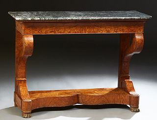 Exceptional French Carved Walnut and Elm Marble Top Console Table, 19th c., the highly figured rounded edge and corner grey marble o...
