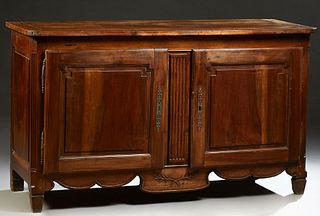 French Provincial Carved Walnut Louis XV Style Sideboard, 19th c